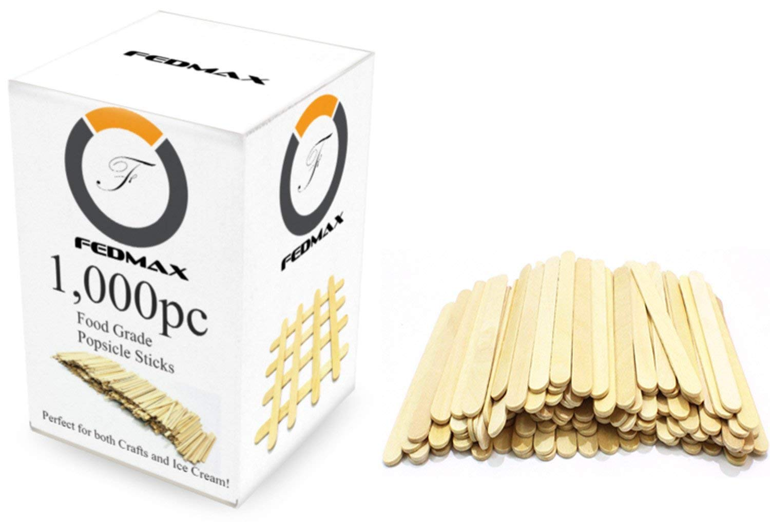Popsicle Sticks 1 000pc 4 1 2 Length Food Grade Wooden Ice Cream Sticks Great Bulk Sticks for Crafts by Fedmax. 1 000pc