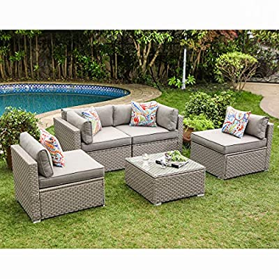 COSIEST 5-Piece Outdoor Patio Furniture Set Wicker Sectional Sofa w Thick Cushions, Glass-Top Coffee Table, Pillows.