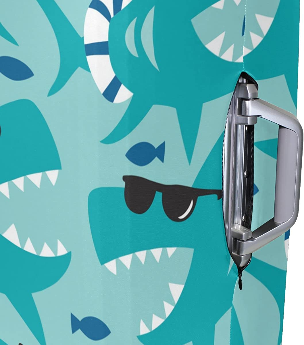 Elastic Travel Luggage Cover Sharks With Sunglasses Suitcase Protector for 18-20 Inch Luggage