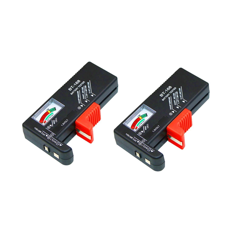 2 pcs Testeur de Batterie,Testeur de Piles UniverselAAA AA Batterie Testeur de 1,5V 9V,Instrument de Mesure de la Batterie Pointeur,Sauto Alimente avec Pile//Batterie en Test