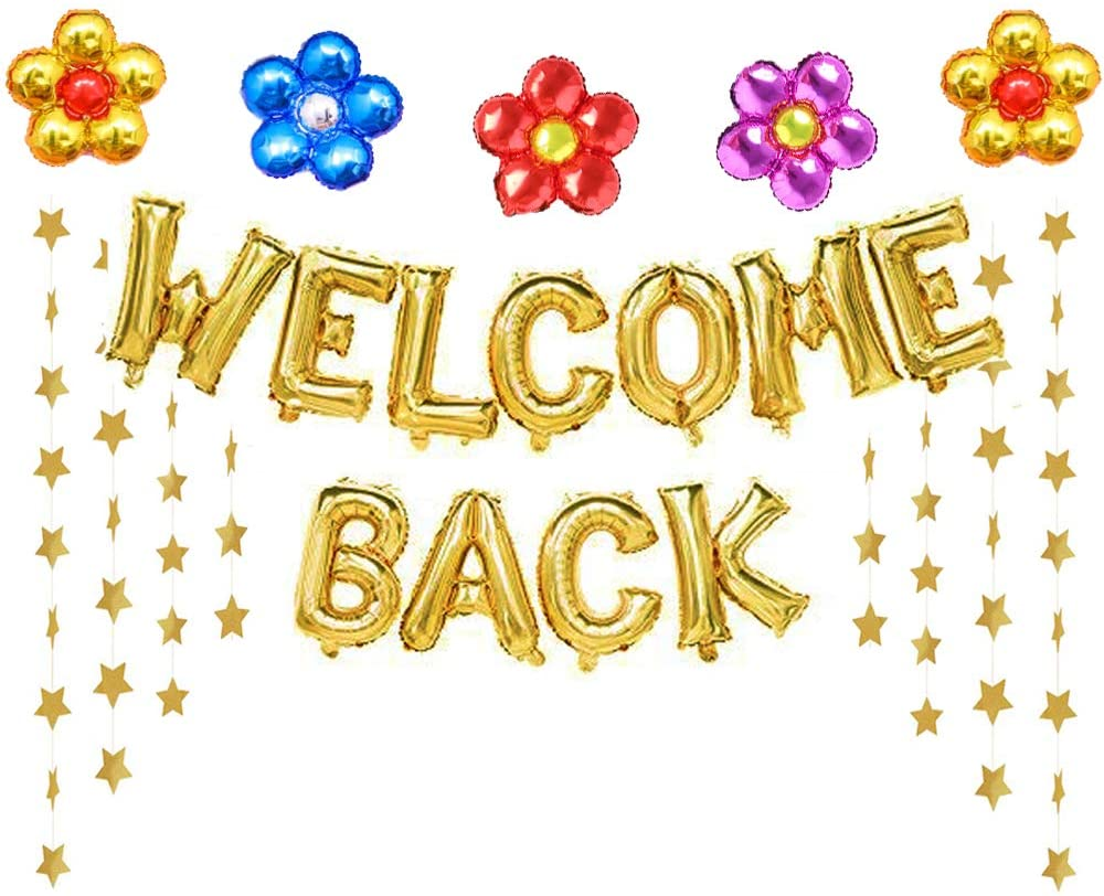 House Welcome Back Balloons Gold Welcome Back Banner Back to School Party Supplies with Flower Balloons Star Banners First Day of School Classroom Home Decor Decorations Wedding