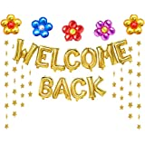 Welcome Back Balloons Gold Welcome Back Banner Back to School Party Supplies with Flower Balloons Star Banners First Day…