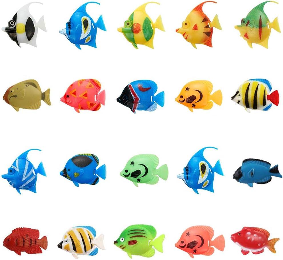 SUNSK Acquario Finto Pesci Tropicali Serbatoio Galleggiante Acquario Decorazioni Pesci Finti Ornamento Falsi Pesci Artificiali 20 Pezzi (Modello Casuale)