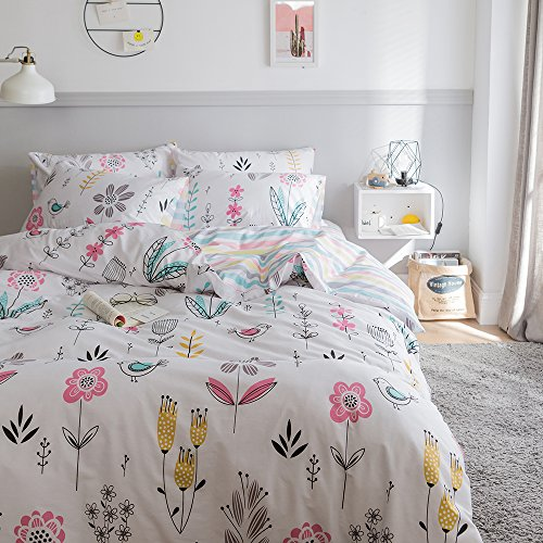 HIGHBUY Floral Printed Pattern Kids Duvet Cover Sets Twin Cotton gentle Green Fresh layout Garden Bedding Sets 3 Piece for Boys Girls reversible Striped Bedroom Collections TwinStyle03