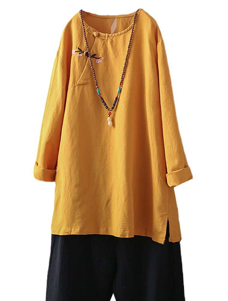 Minibee Women's Solid Color Linen Shirts Chinese Frog Button Tops Blouse Tunic Yellow