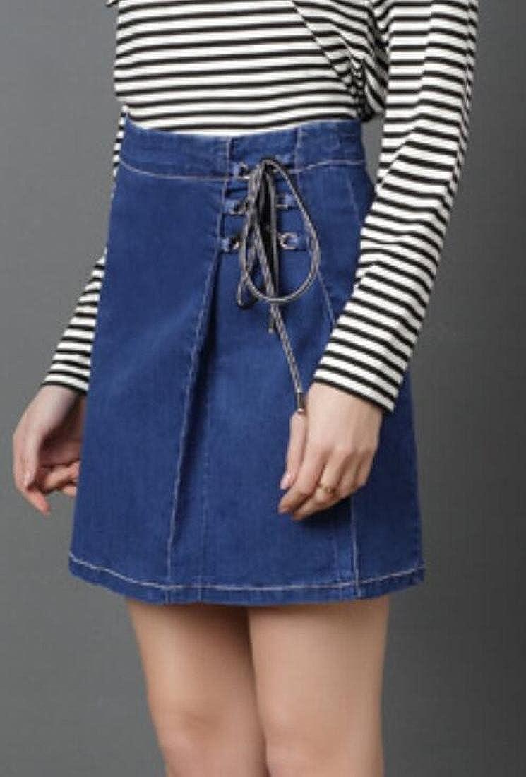 KLJR-Women Casual A-Line Drawstring High Waist Shorts Denim Skirts