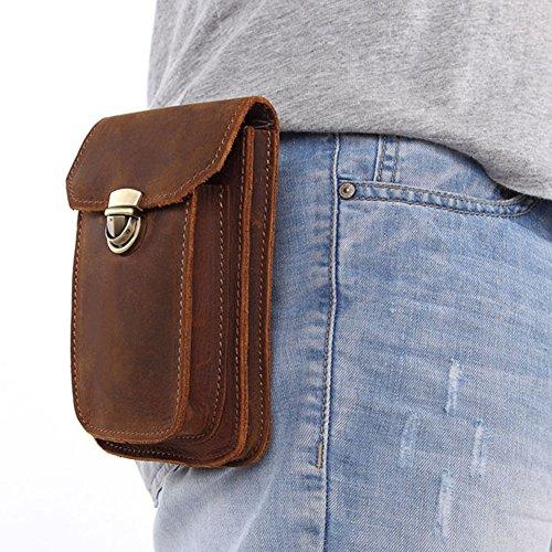 Boleke Mens Genuine Leather Small Hook Fanny Waist Bag Hip Bum Pack Cigaretee Pouch