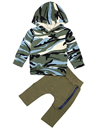 03711ddb6 Amazon.com  Toddler Infant Baby Clothes Boy Camouflage Hoodie Tops + ...