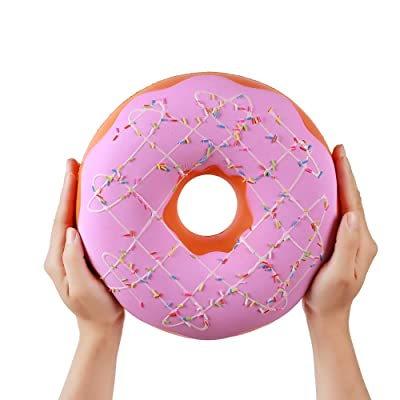 Anboor 9.1 Inches Squishies Jumbo Donut Kawaii Scented Soft Slow Rising Huge Sprinkles Doughnut Squishies Stress Relief Kids Toy (Pink): Toys & Games