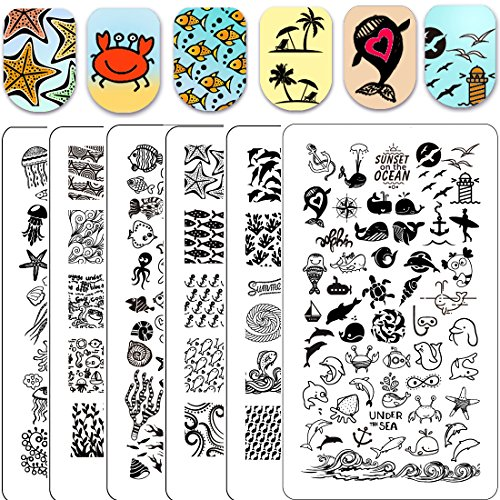 Ejiubas Stamping Plates Set 3Pcs Double-sided Nail Art Stamp Stamping Template Image Plates Wonderful Sea World Nail Art Tools EJB-X04&X05&X06]()