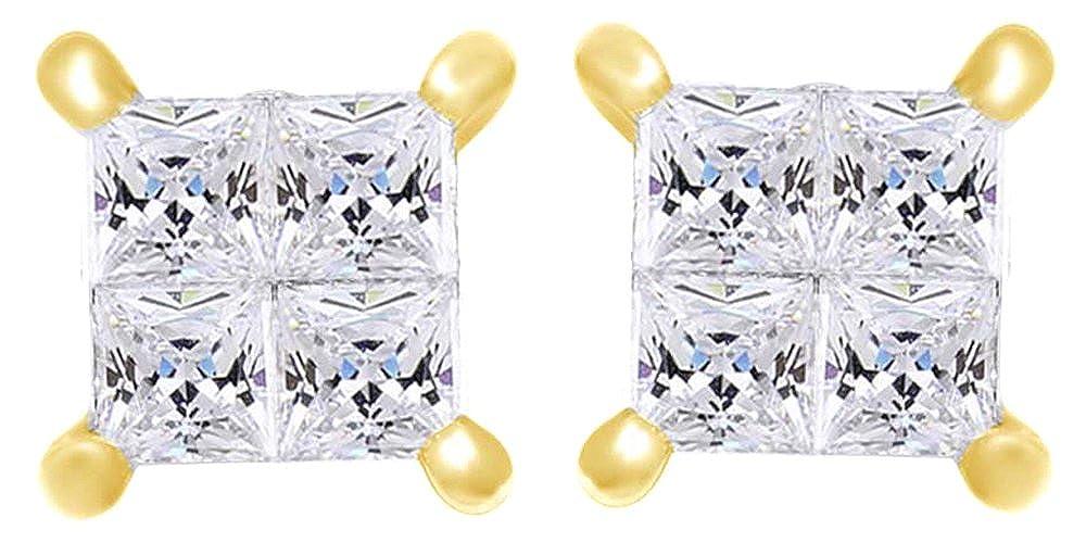 0,5 Karat Prinzessschliff Weißszlig; natürlicher Diamant Quadratisch Ohrstecker in 14 ct 585 Massiv Weißszlig; Gold 14 Karat (585) GelbGold