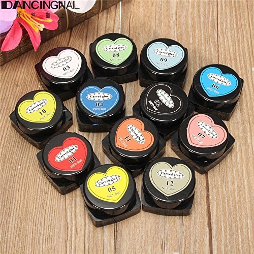 3D Nail Art Glue DANCINGNAIL 12 Colors Carved Glue Painting UV Gel Acrylic Nail Art Modelling Kits