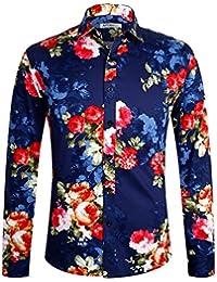 Men's 100% Cotton Floral Shirt Long Sleeve Flower Shirt