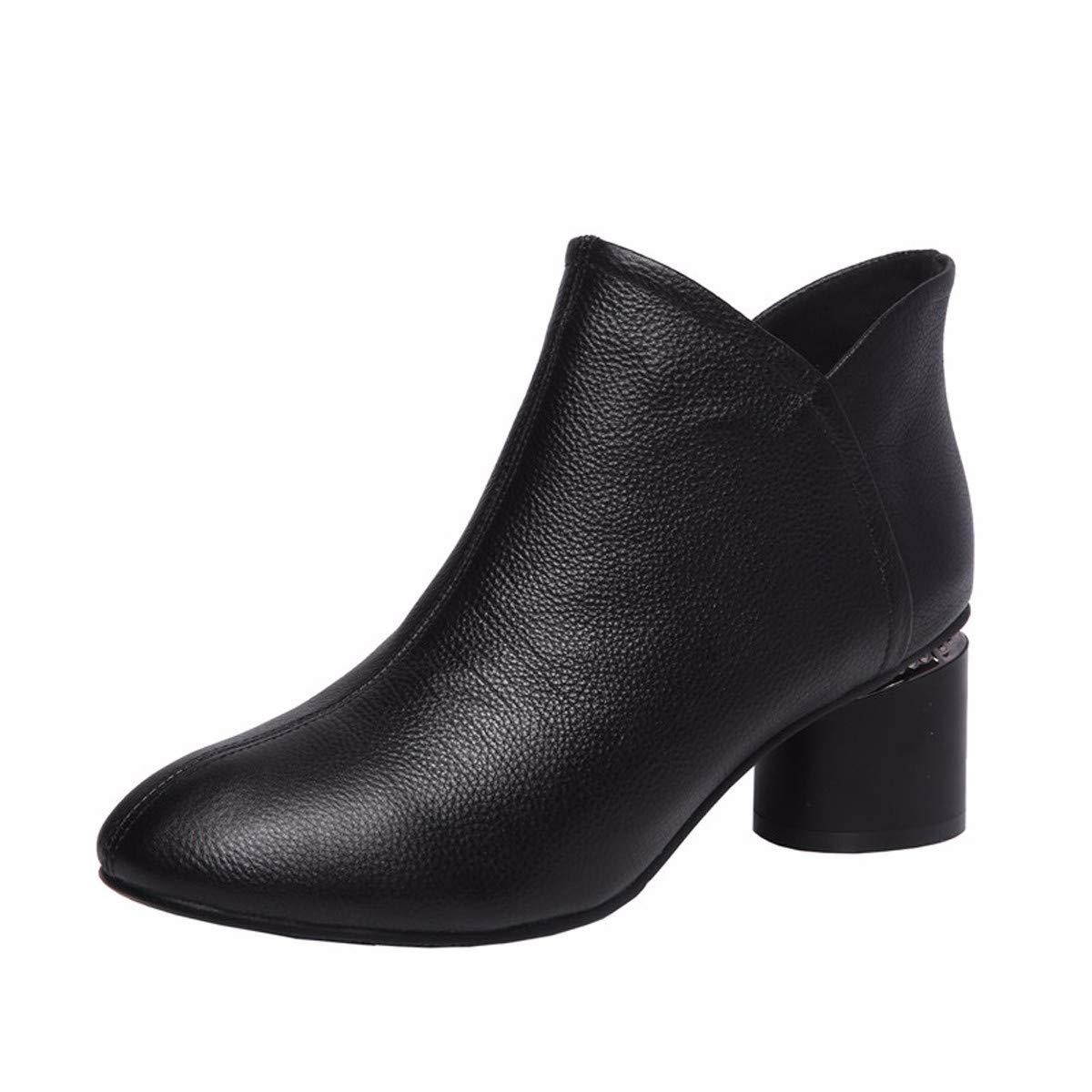 KOKQSX-Damen - Stiefel Leder runden Kopf Moderne komfortable Kurze Stiefel.