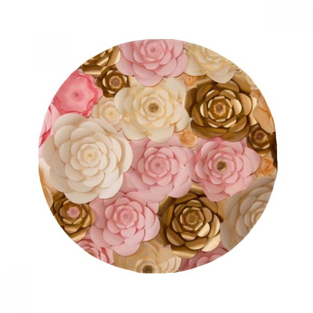 60X60cm DIYthinker Brown White Pink Beautiful Flowers Anti-Slip Floor Pet Mat Round Bathroom Living Room Kitchen Door 60 50Cm Gift