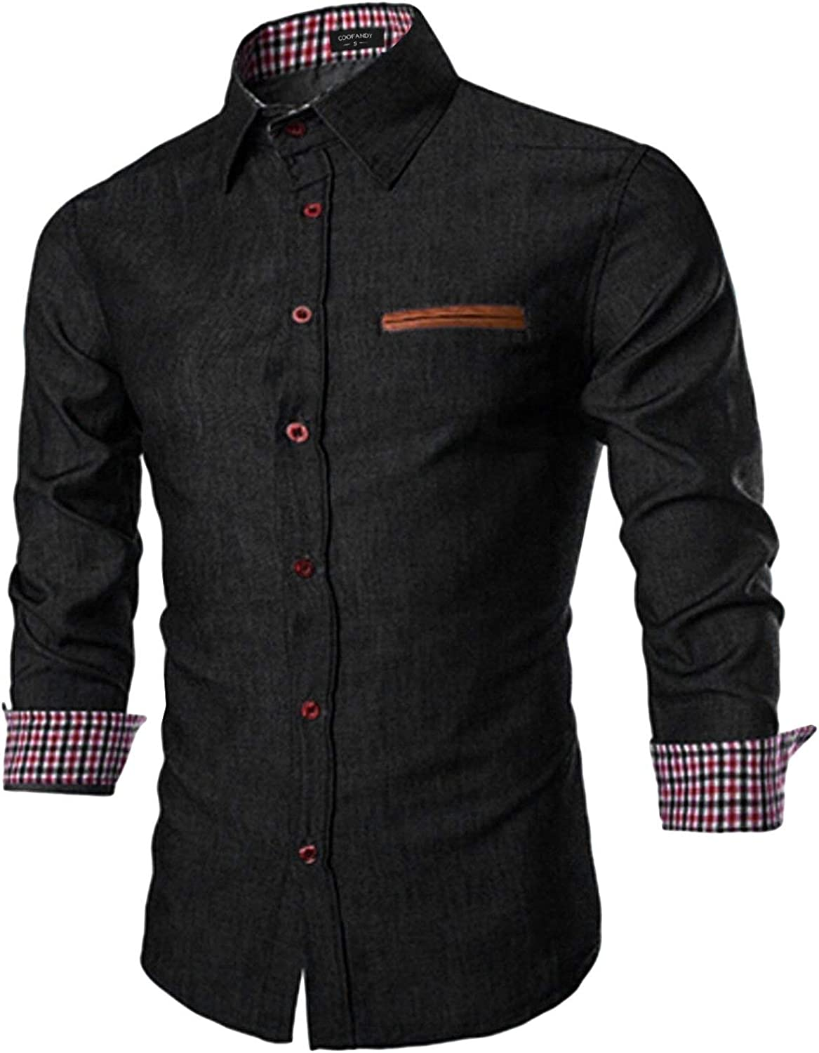 COOFANDY Men's Casual Dress Shirt Button Down Shirts Long-Sleeve Denim Work Shirt: Clothing