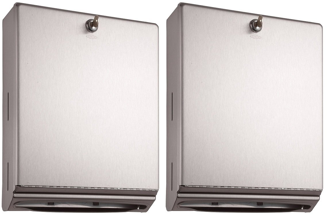 Bobrick 262 Surface-Mounted Paper Towel Dispenser, 10 3/4 x 4 x 14, Satin Stainless Steel (2 PACK)