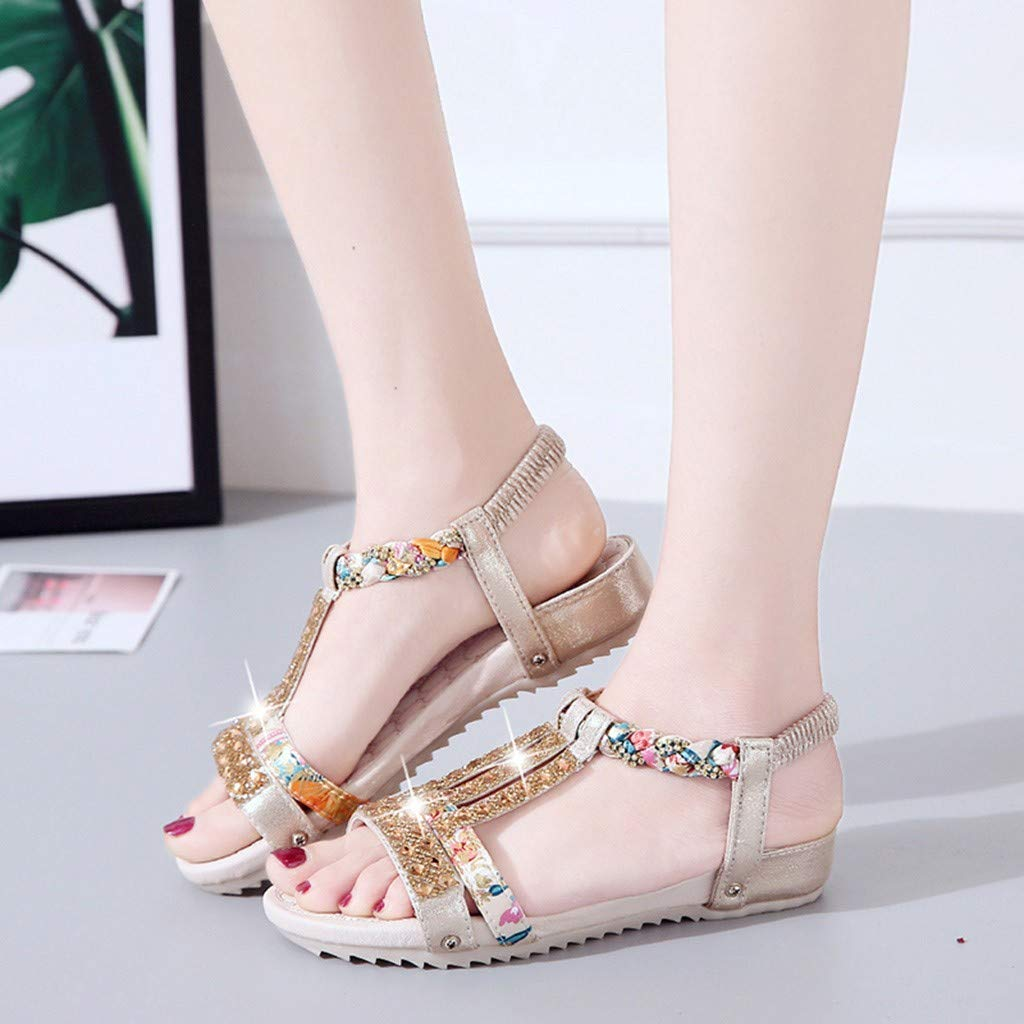 Tsmile Women Sandals Boho Ladies Summer Crystal Rhinestone Bling Flat Beach Shoes Party Roman Sandals