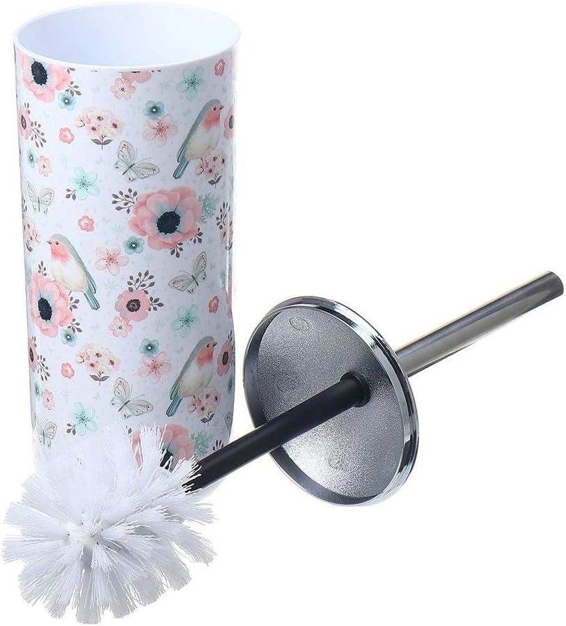 トイレブラシ 1つの狭いプラスチック浴室トイレクリーニングブラシ付きゴミ箱ゴミ箱ゴミ箱缶のゴミ箱缶セットで3 取っ手付トイレブラシ (Color : Multi-colored, Size : 18 x 31 cm)