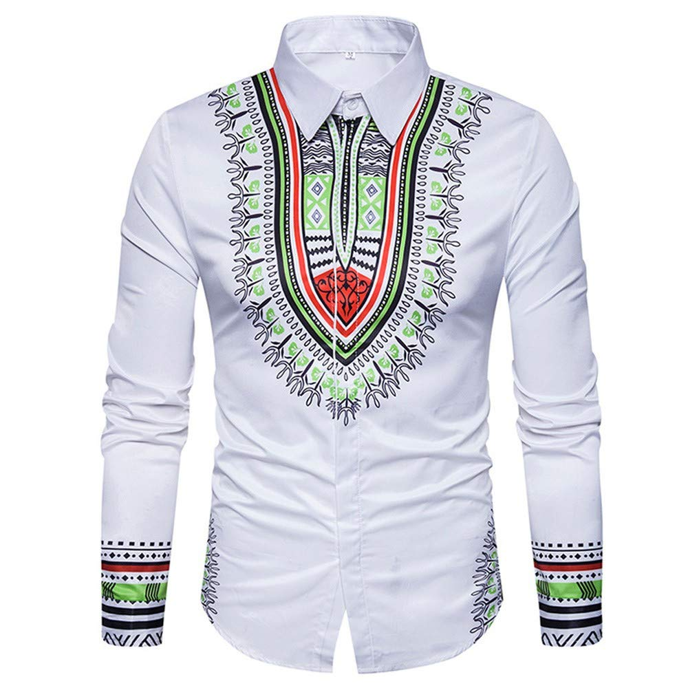 GREFER Men's Tops African Print Long Sleeved T Shirt Blouse Crew Neck Pullover White by GREFER