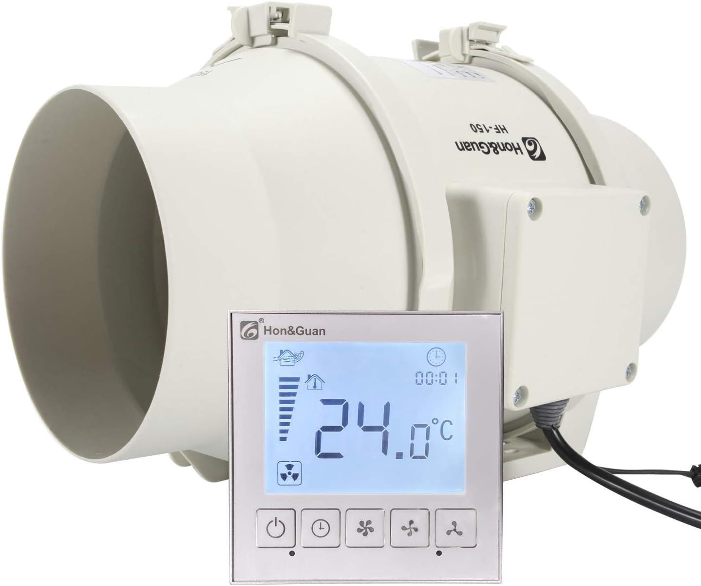 Hon/&Guan /ø150mm Extracteur A/érateur dAir avec Minuteur et Contr/ôleur Intelligent