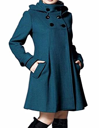 EMMA Damen Winter Mantel mit Kapuzen Kunstpelz Fleece Zweireiher Knopf Wolle Kapuzenjacke Warm Trenchcoat Schlank Wind Jacke Rollkragen Oversized