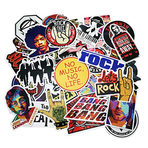 Punk Rock Band Stickers 160PCS Stickers Pack Rock and Roll Music Stickers Vinyl Waterproof Decals for Electric Guitar Bass Drum Laptop Skateboard Motorcycle