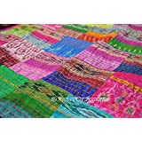 "COR's King Size Patola Silk Patch Work Kantha Quilt , Kantha Blanket Bedspread, Patch Kantha Throw, King Kantha, Kantha Rallies Indian Sari Quilt, Size 90"" X 108"""