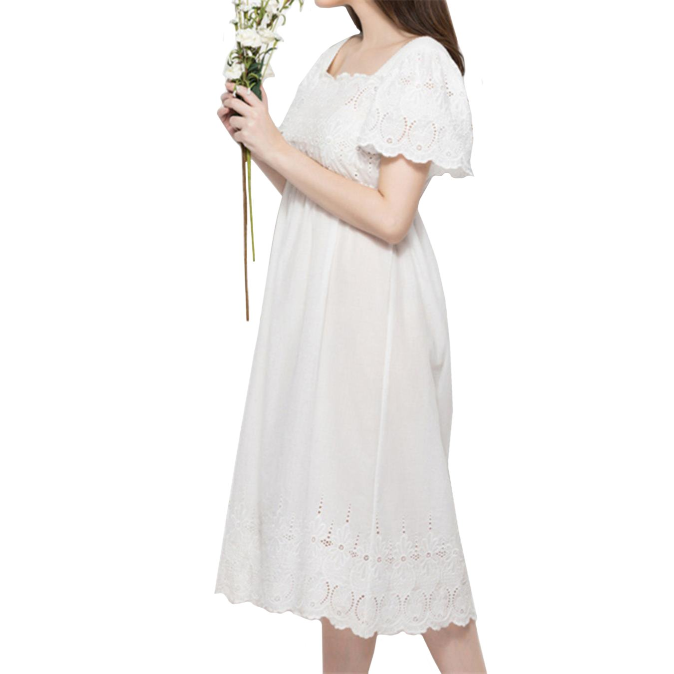 NCOEM Nightgowns Sleepshirts Solid White Home Dress Sleep Lounge Nightdress Lace Sleepwear Female Sleep Lounge