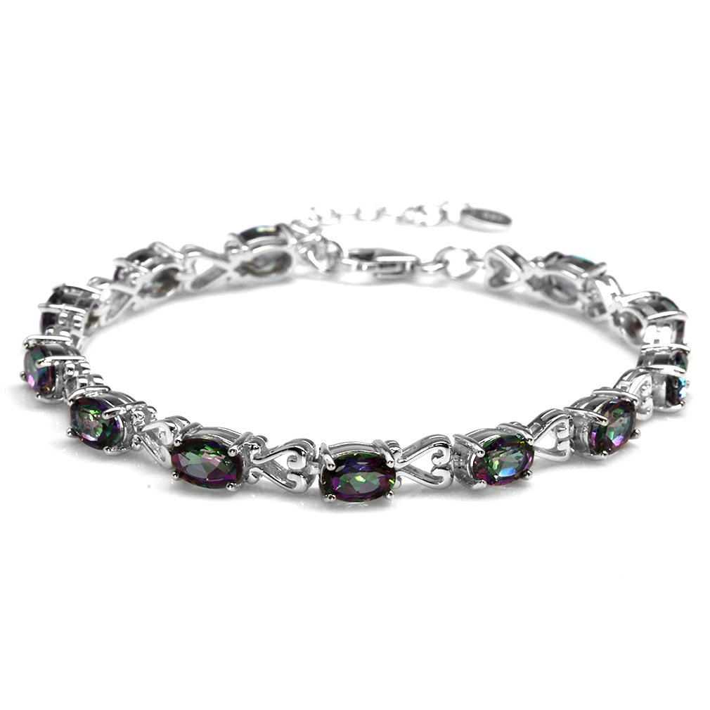 10.56ct. Mystic Fire Topaz 925 Sterling Silver Victorian Heart Style 7-8.5'' Adjustable Bracelet by Silvershake