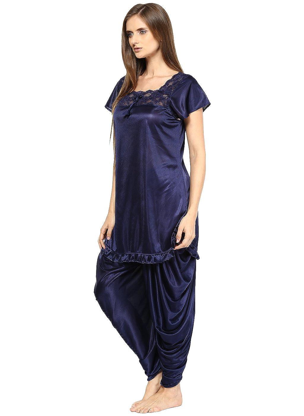 Fashigo Women s Nightdress (Set)(FASNW038 Blue Free Size)  Amazon.in   Clothing   Accessories 921d5160a