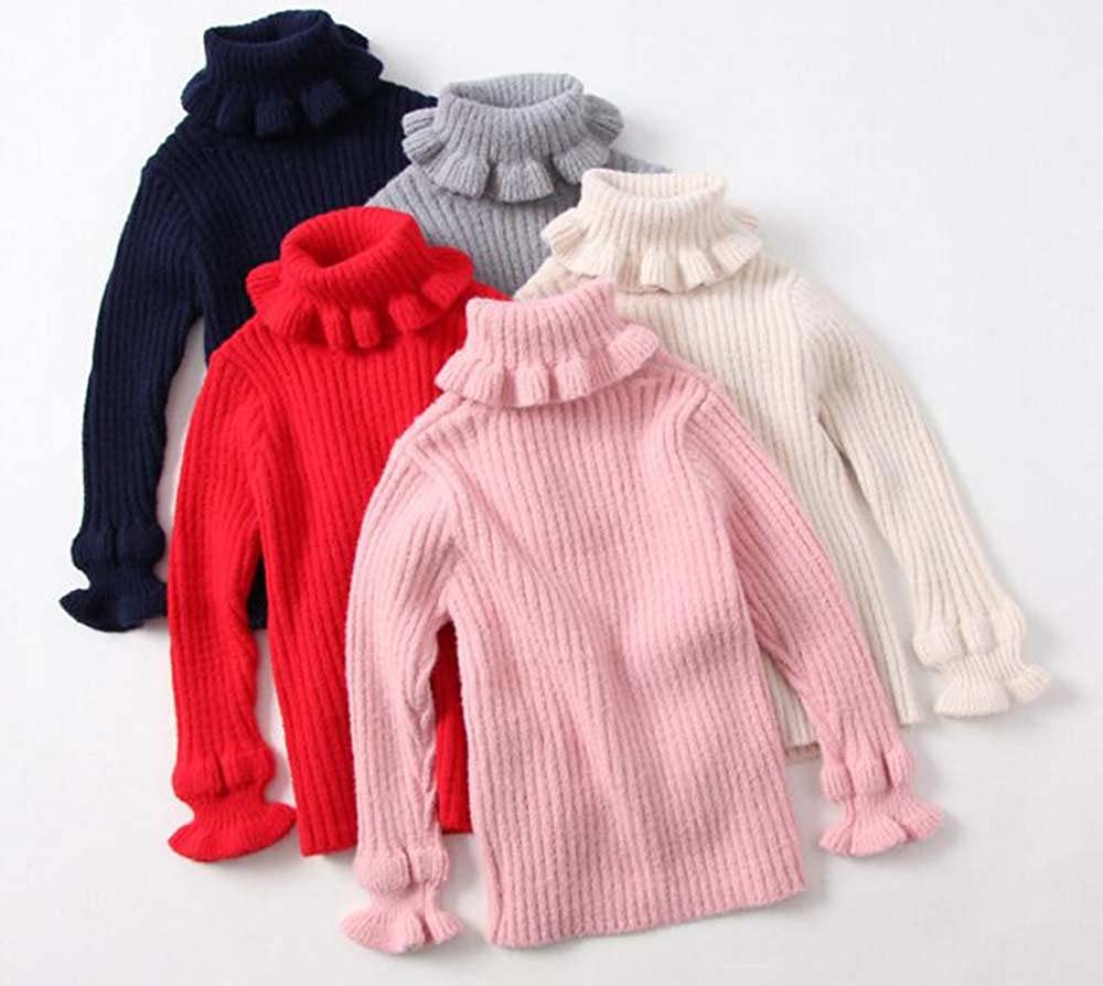 7T , Red height:130cm Littleladybug Pure Color Turtleneck Agaric Laces Warm Pullover Sweater