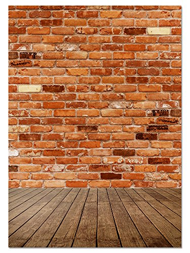 Brick Background - Photography Backdrop - Great for Studio, Booth, Party, Photo, Wedding, Business Use, 4.9 x 7.2 Feet -