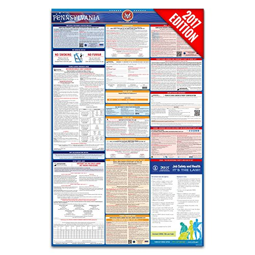 2017 Pennsylvania Labor Law Poster – State & Federal Compliant – Laminated