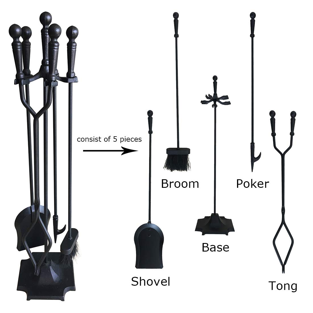 Tong Modern Black Shovel Poker and Stand Base Brush Tosnail 5 Pieces Wrought Iron Fireplace Tools Set