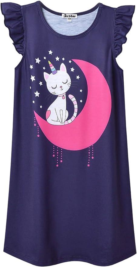 2-Pack Jxstar Nightgown for Girls Flutter Sleeve Pajamas Cotton Sleepwear Night Dresses