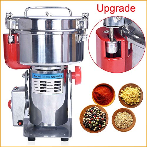 er Mill Machine 2000g Stainless Steel Swing Type - Automatic Power Off Multifunctional Food Pulverizer Machine for Grinding Various Grain Spices and Flour ()
