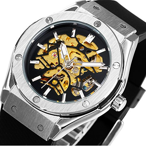 Luxury Automatic Mechanical Wrist Watches for Men CALUXE Brand Skeleton Dial Brushed Stainless Steel Case