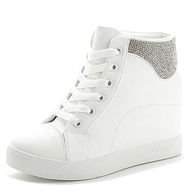 c01f151daac GIY Womens Rhinestone High Top Platform Sneakers - Increased Height Hidden  Heel Cz Wedge Sports Shoes