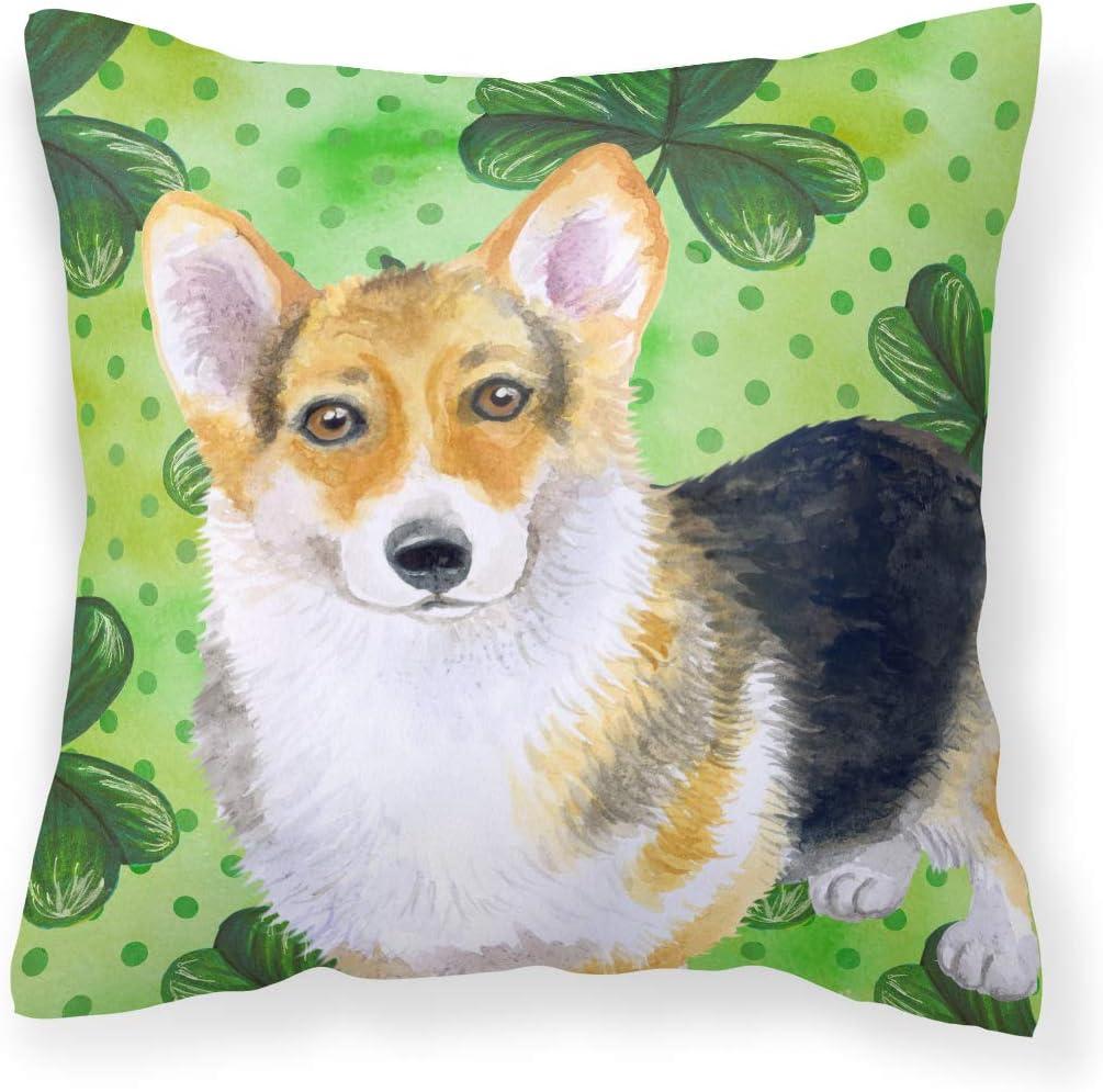 Caroline S Treasures Bb9816pw1414 Pembroke Corgi St Patrick S Fabric Decorative Pillow 14hx14w Multicolor Garden Outdoor