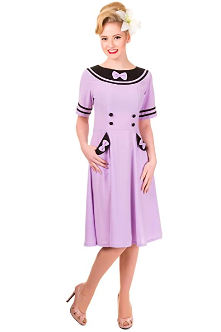 1940s Day Dresses Retro Wartime Vintage Dress $49.95 AT vintagedancer.com
