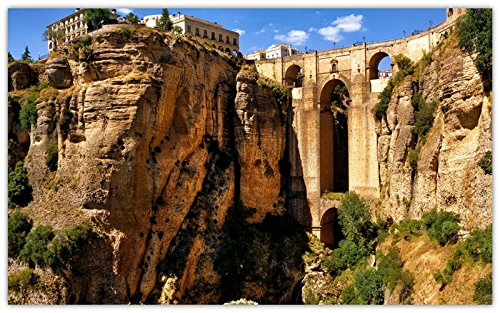 (ronda-andalusia-spain-mountains-rocks-aqueduct-bridge travel sites Postcard Post card )