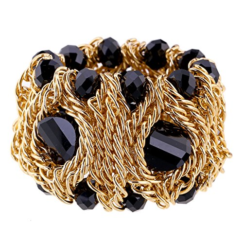 Kaymen Jewelry 18k Gold Plated Copper Chains and Crystal Stone Knit Charm Bangles Bracelets for Women 4 Colors (Black)