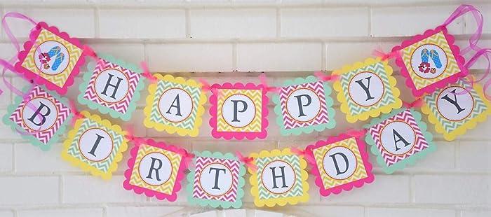 Happy Birthday Fun In The Sun Banner Customizable Happy