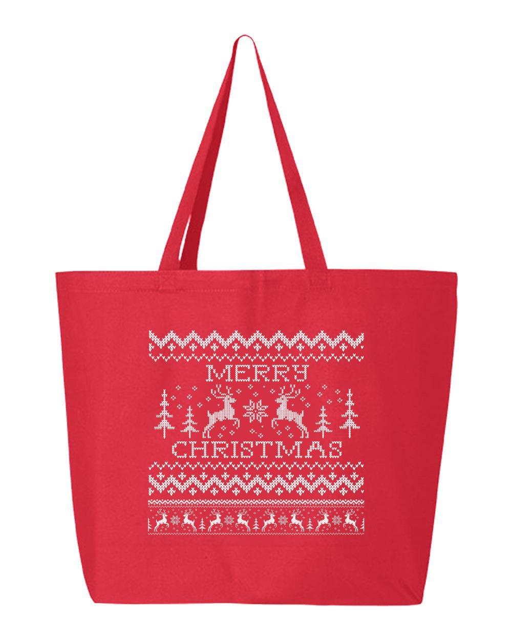 shop4ever Merry Christmas 2つトナカイHeavyキャンバストートバッグクロスステッチ再利用可能なショッピングバッグ10オンスジャンボ 25 oz レッド S4E_1215_ChristRind2_TB_Q600_Red_1 B072NZXBHN レッド 1 レッド