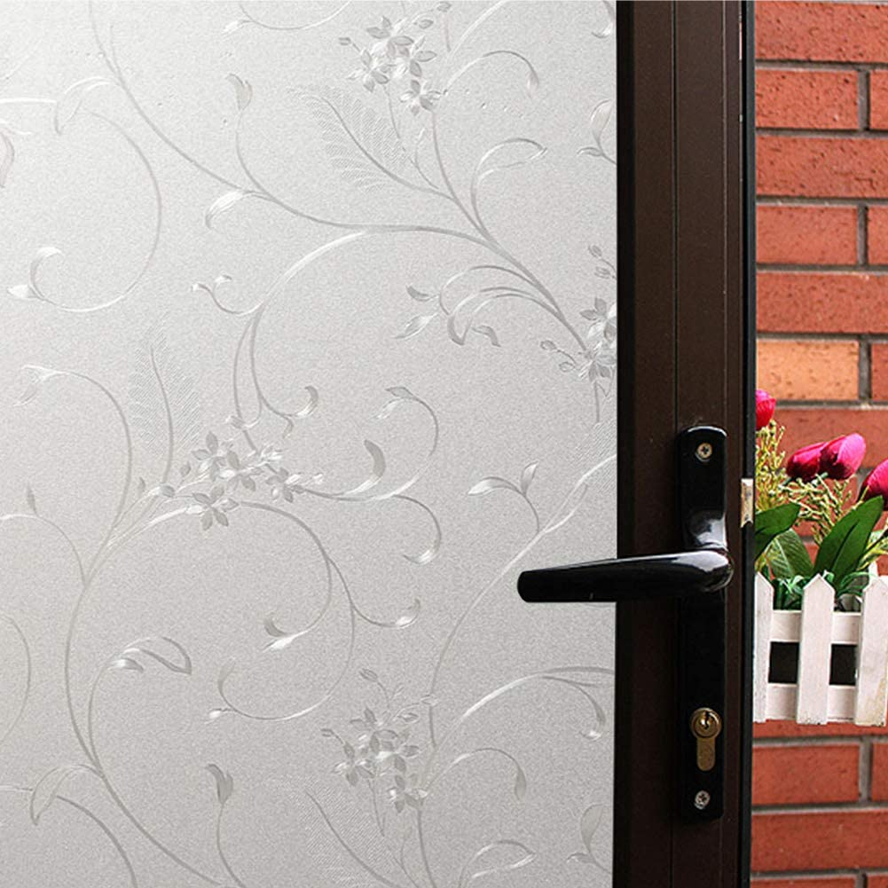 Mikomer Privacy Window Film Little Flowers Static Cling Glass Door Film, Non Adhesive Heat Control Anti UV Window Cling for Office and Home Decoration,23.6 inches by 118 inches