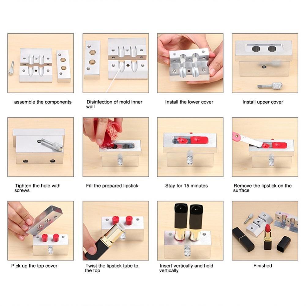 3790/5000 Molde de lápiz labial DIY, aleación de aluminio bálsamo labial titular del molde Lápiz labial cosmético que hace que los kits bálsamo del brillo ...