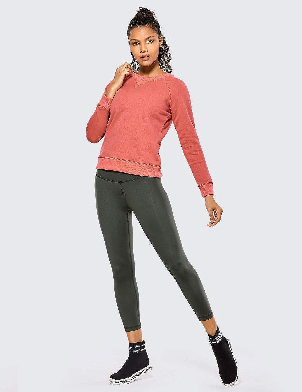 CRZ YOGA Donna Pantaloni a Vita Alta da Allenamento Yoga Sportivi con Tasche-53cm
