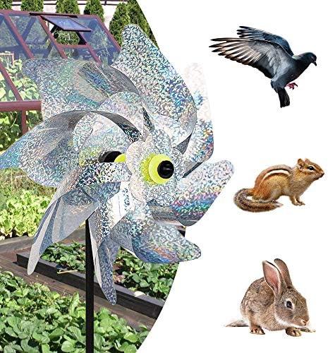 munloo 10 St/ücke Windr/äder Vogelabwehr Vogelabweisende Reflektierende Windm/ühle Anti-V/ögel to Protect Garten,Obstgarten,Hof Silber