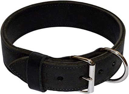 REDLINEK-9 2 Heavy Duty Leather Dog Collar with Felt and Handle Redline K9